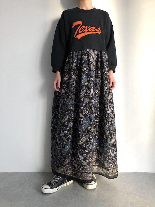 Remake  Indian Sweat maxi dress / リメイク  インド綿マキシ丈 スウェットワンピース