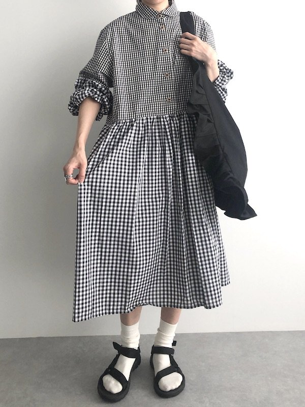 Remake gingham shirt dress / リメイクギンガムシャツワンピース