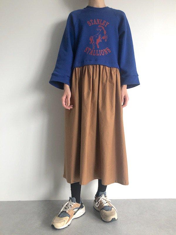 Remake  sweat dress / リメイク スウェットワンピース ( blue×camel beige )