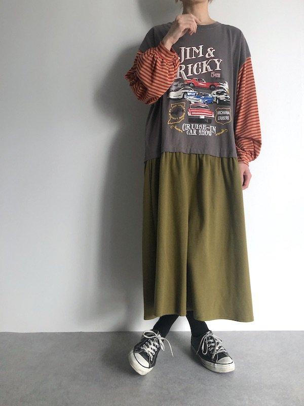 Remake border sleeve T-shirt  Dress  / リメイクボーダースリーブTシャツワンピース