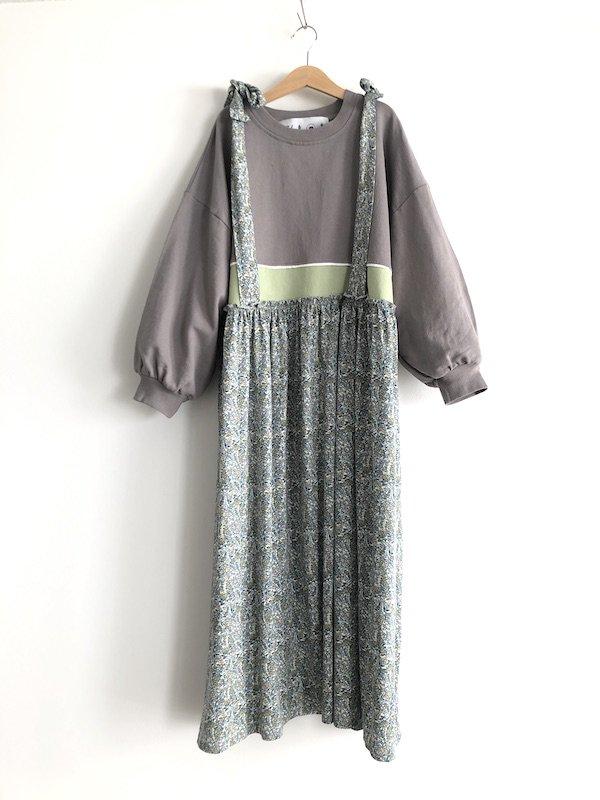 Remake  Sweat  flower dress / リメイク 花柄 スウェット キャミワンピース (Gry)