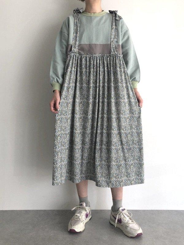 Remake  Sweat  flower dress / リメイク 花柄 スウェット キャミワンピース (Green)