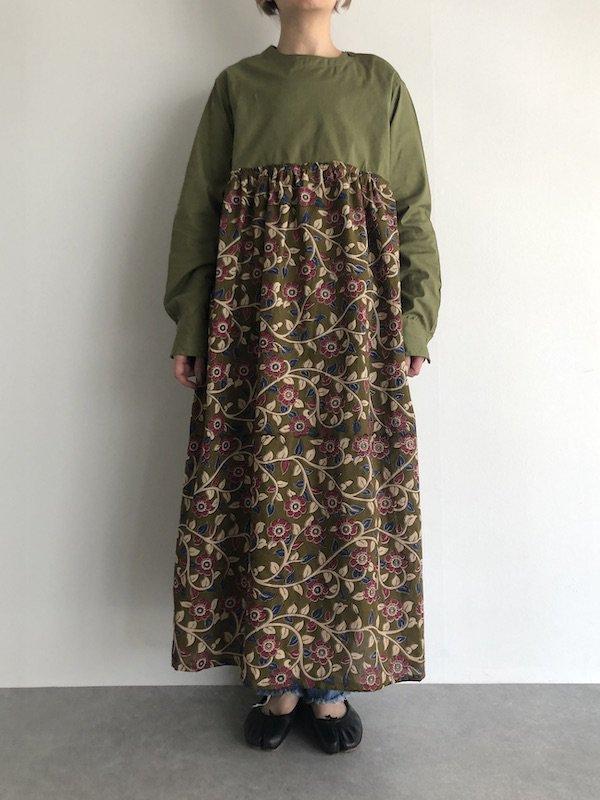 Remake Rumania shirt dress / ルーマニア軍 リメイク花柄ワンピース(Aライン)