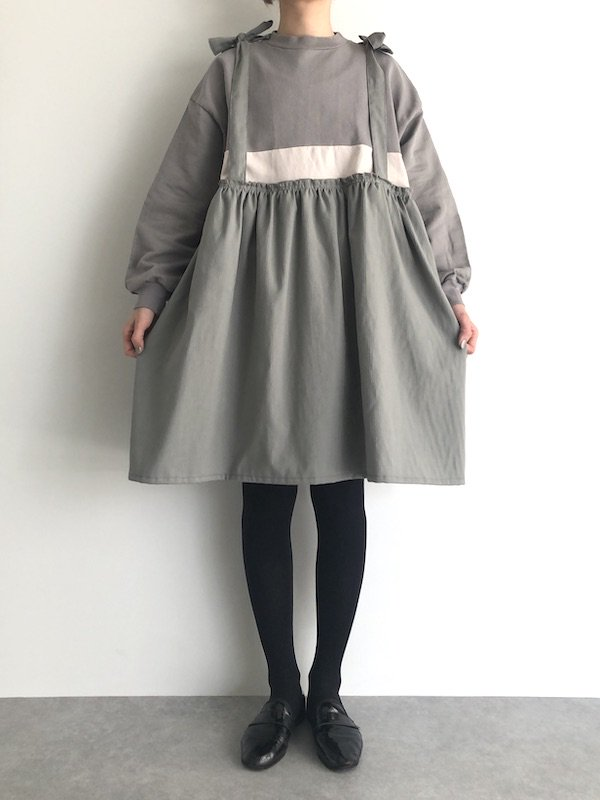 Remake  Sweat  mini dress / リメイク スウェットミニワンピース (L.Gry)