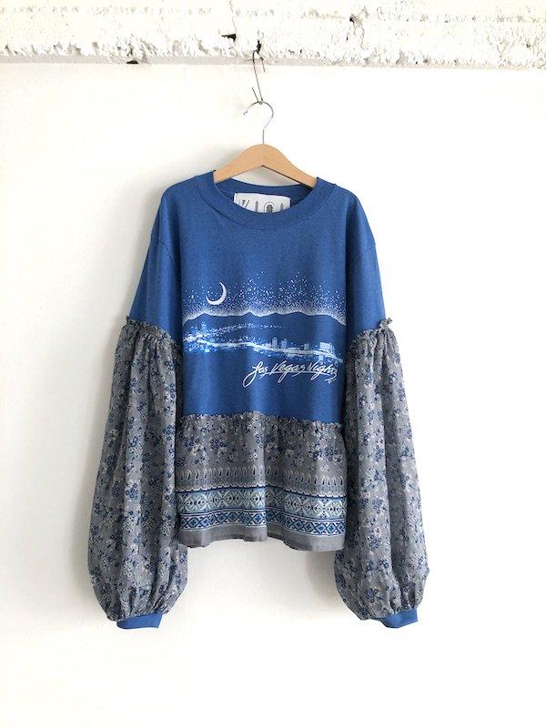 Remake  ethnic T-shirt / リメイク エスニックTシャツ (blue/gy)