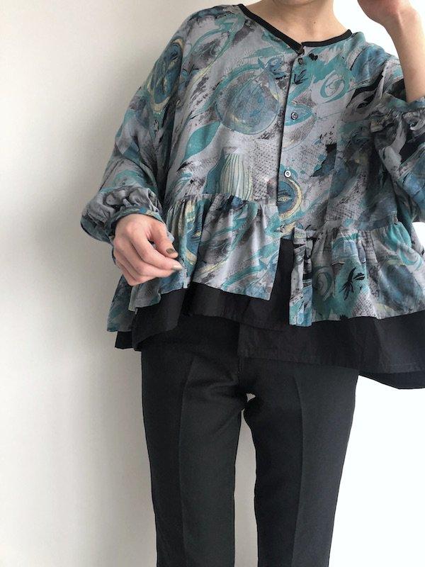 Remake  rayon-shirt tunic/ リメイク レーヨンシャツチュニック
