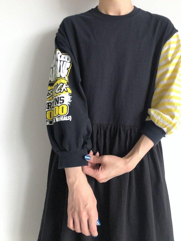 Remake Print Sleeve  mini Dress  / リメイク プリントスリーブミニワンピース