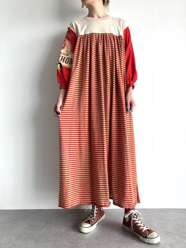 Remake Print Sleeve Dress / リメイク プリントスリーブワンピース(red)