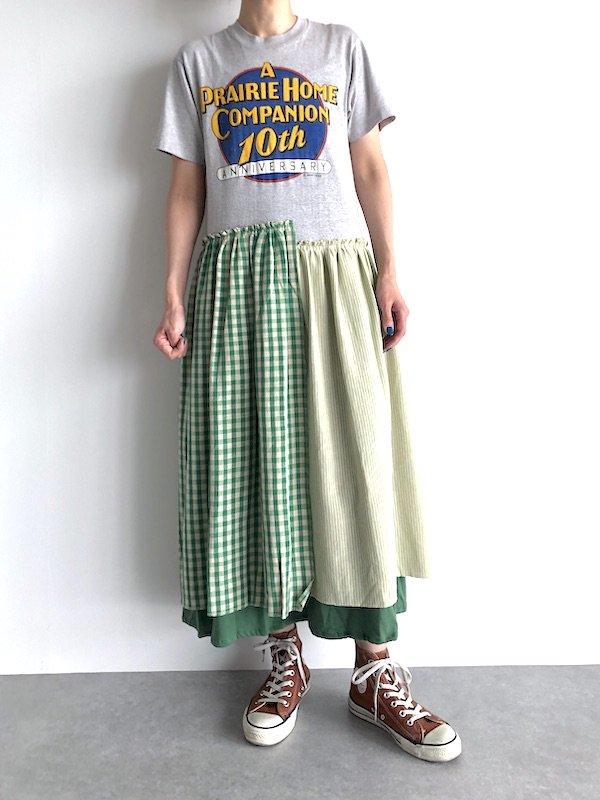 Remake Check&Stripe T-shirts Dress / リメイク チェック&ストライプ Tシャツワンピース