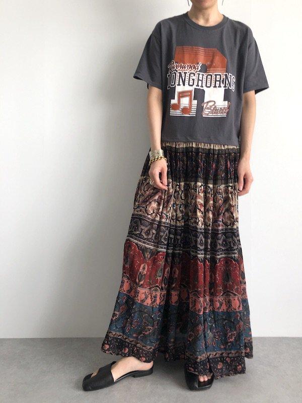 Remake vintage ethnic  maxi Dress  / リメイクTシャツエスニックスカートマキシワンピース