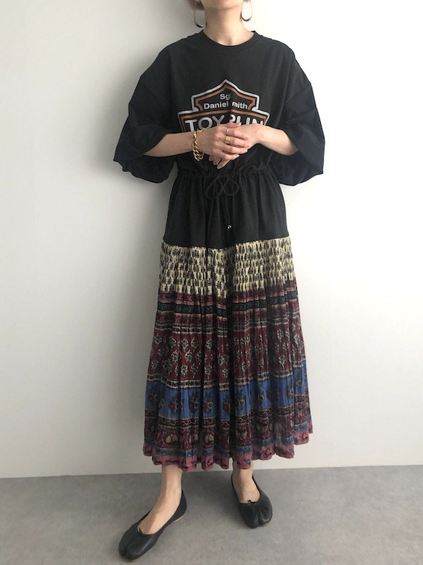 Remake vintage ethnic  browsing Dress  / リメイクエスニックスカートブラウジングワンピース