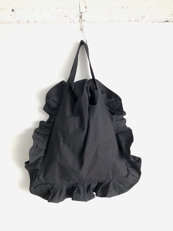 Order 受注生産 Canvas Tote Bag  / 帆布 フリルバック  Black Big