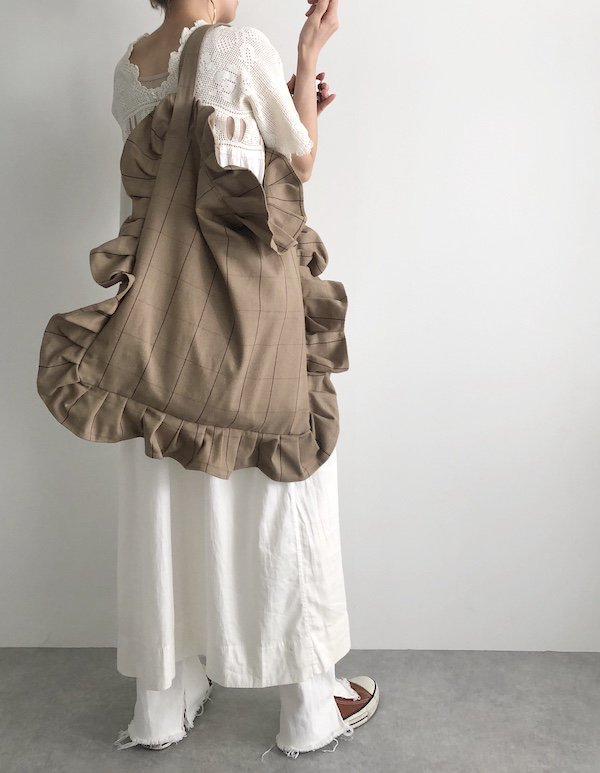 Canvas Tote Bag  / 帆布 フリルバック  Beige Check /  ビッグ Big size