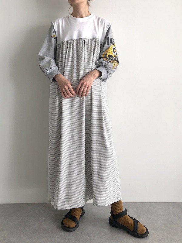 Remake Print Sleeve Dress / リメイク プリントスリーブワンピース(Gry-ye)