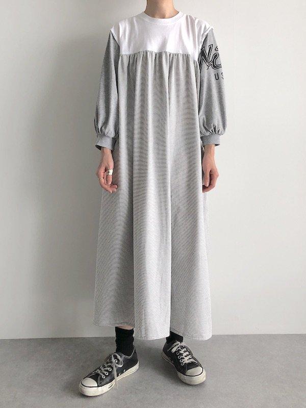Remake Print Sleeve Dress / リメイク プリントスリーブワンピース(Gry-usa)