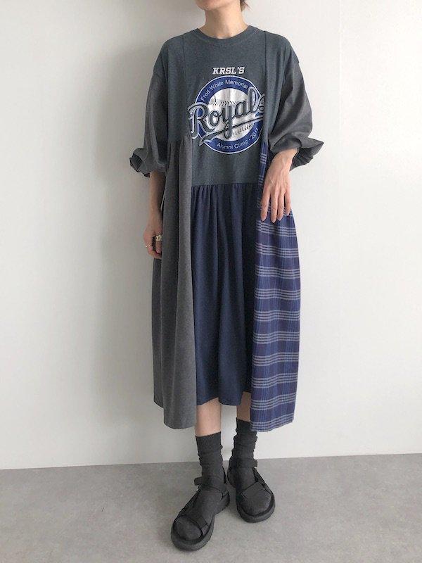 Remake asymmetry dress  / リメイクアシンメトリーワンピース(G-Blu)