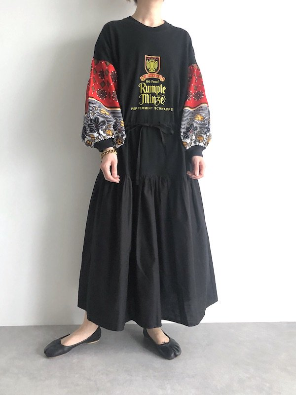Remake African cotton browsing Tee Dress  / リメイク アフリカンスリーブ ブラウジングワンピース(red)