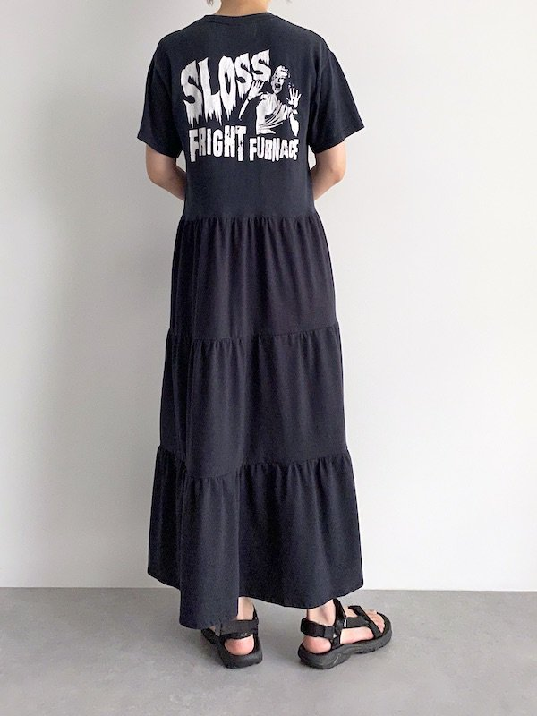 Remake tiered maxi dress  / リメイクティアードマキシワンピース(BK)
