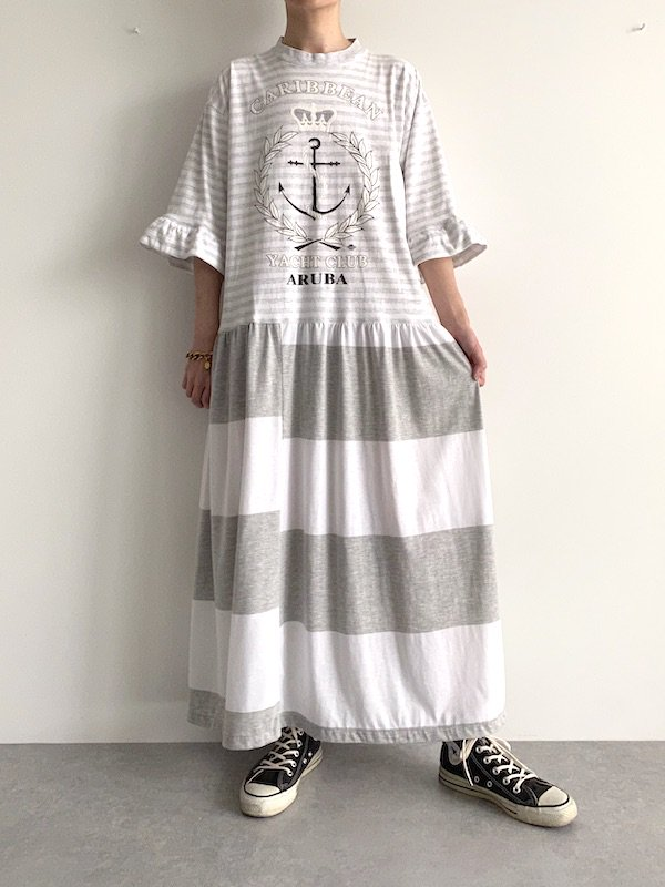 Remake border maxi  dress  / リメイクボーダーマキシワンピース(GY)