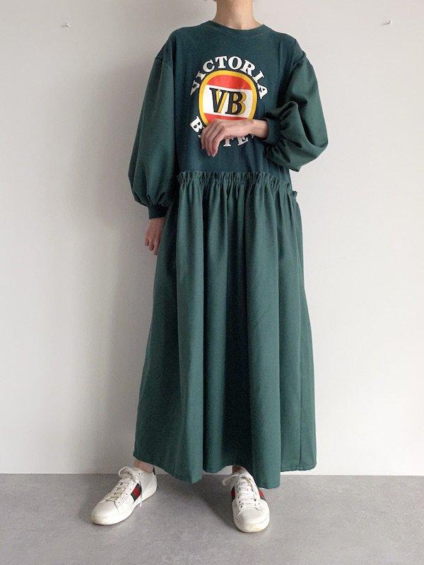 Remake long  loose dress  / リメイクロングルーズワンピース(GRN)