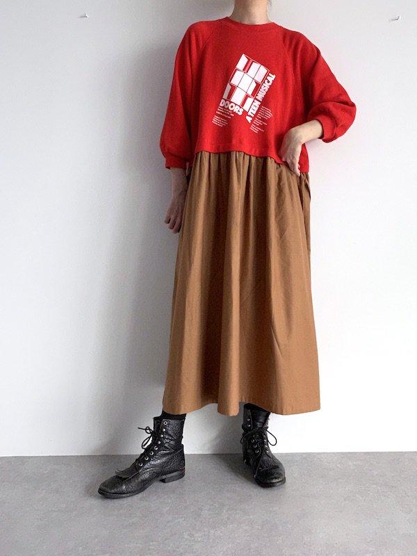 Remake  sweat long dress / リメイクスウェットロングワンピース (Red)