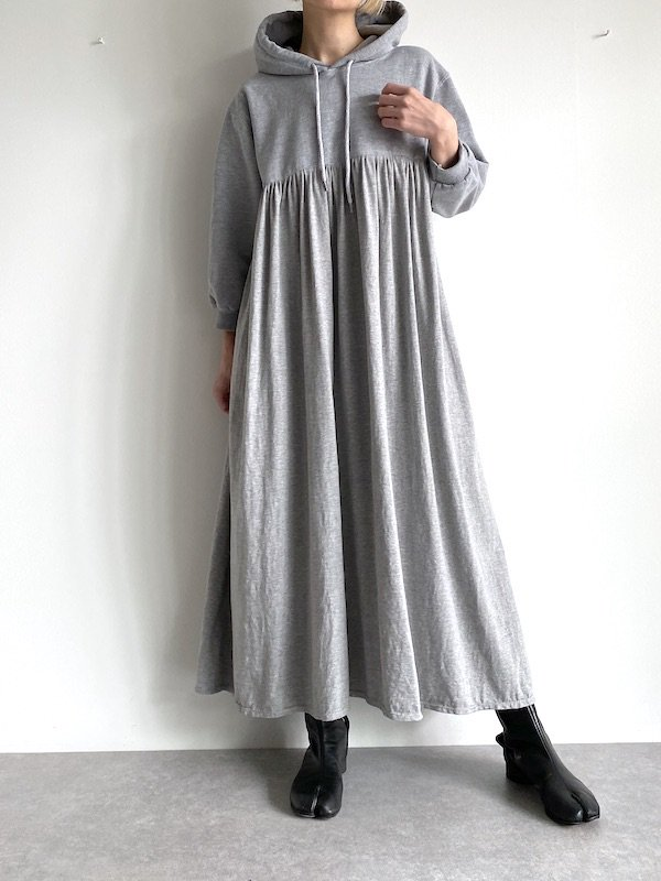 KICI - foodie long dress / パーカ ロングワンピース (Gry/Solid)