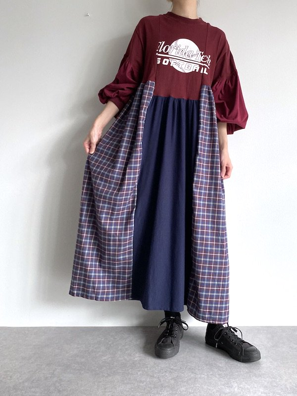 Remake asymmetry maxi dress  / リメイクアシンメトリーマキシワンピース(NV/D.red check)