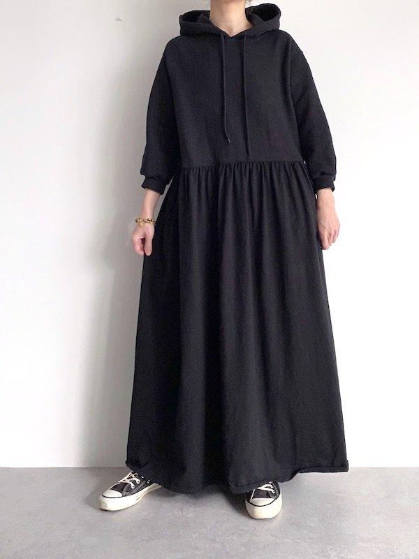 KICI - foodie maxi dress / パーカ マキシワンピース (BK/Solid)