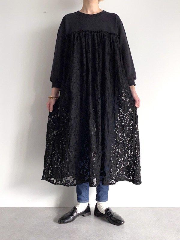 KICI - lace long sweat dress / レーススウェットワンピース (BK)