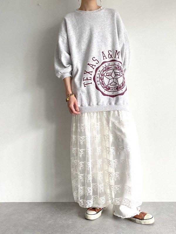 Remake  sweat lace dress / リメイクスウェットレースワンピース (oatmeal/off wht)