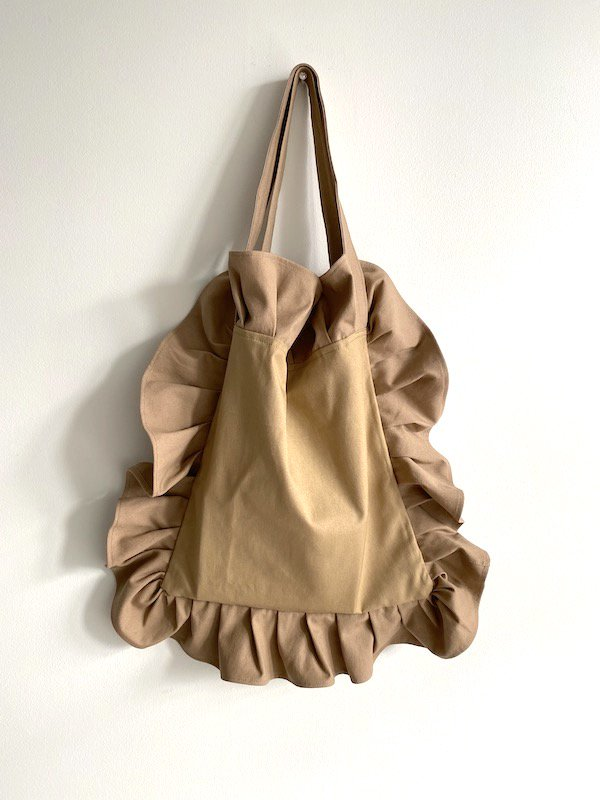 Canvas Tote Bag  Small  / 帆布 フリルバック  小サイズ (beige)