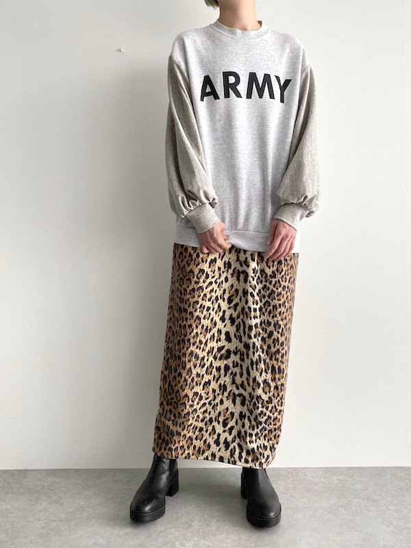 Remake  big leopard sweat dress / リメイク ビッグレオパード スウェットワンピース (ARMY)