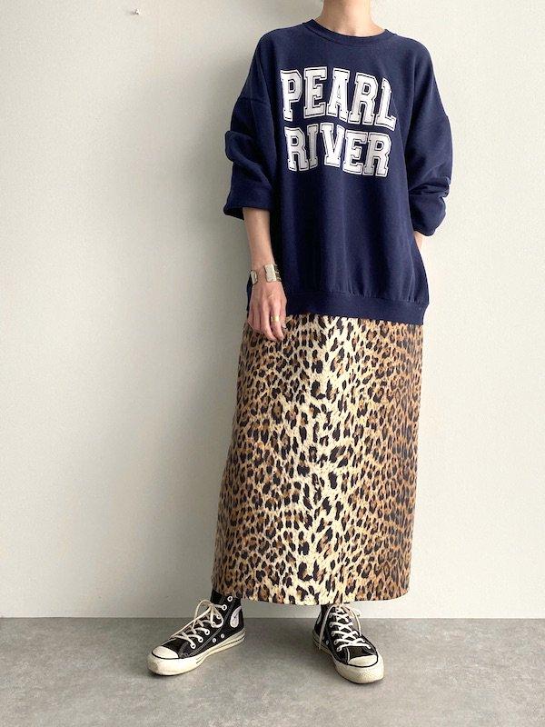 Remake  big leopard sweat dress / リメイク ビッグレオパード スウェットワンピース (Navy)