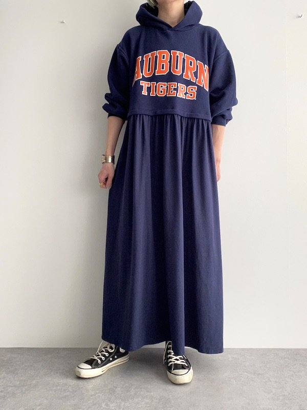 Remake maxi foodie loose dress  / リメイクパーカーマキシワンピース(Navy)