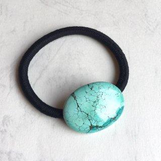 天然石のヘアゴム チベットターコイズ
