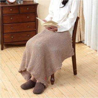 キャメル混のびふわ膝掛毛布