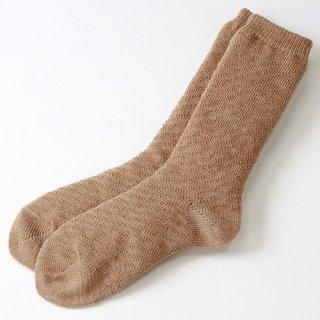 キャメル混ほっかほか毛布靴下