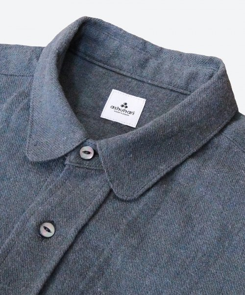 natural dyed round collar shirt ( ashuhari )