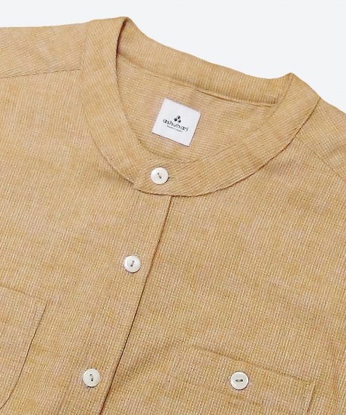 honeycomb chambray collarless shirt ( ashuhari )
