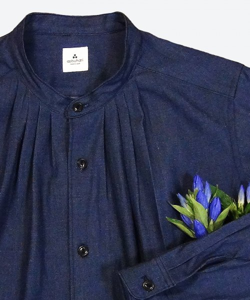 indigo band collar tuck dress ( ashuhari )