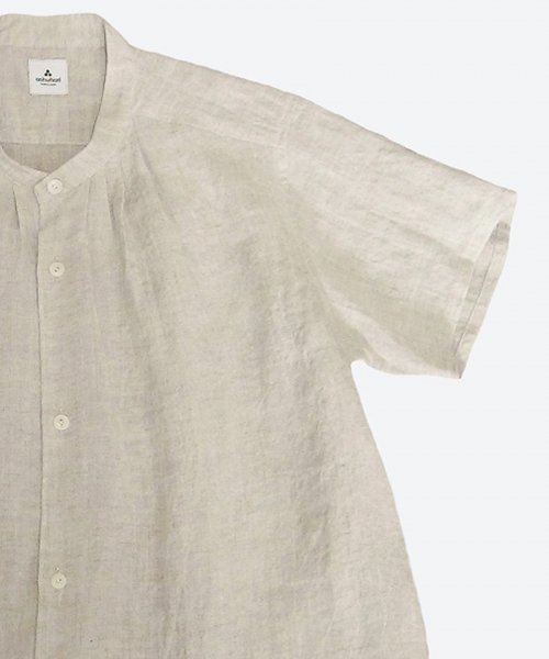ramie/linen band collar tuck short sleeved shirt  ( ashuhari )