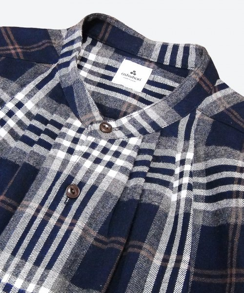 big check band collar tuck shirt ( ashuhari )