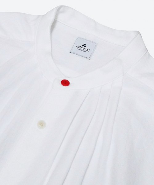 RED BUTTON band collar tuck shirt  ( ashuhari )