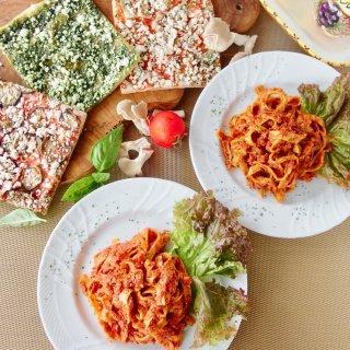 ギフトにも嬉しい自然食品♪簡単調理で身体に優しい無添加パスタ&有機野菜の天然酵母ピザセット<パスタ2食、ピザ3食入>