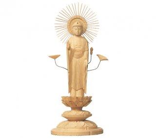 白木仏像 丸台座 東弥陀