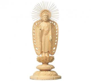 白木仏像 丸台座 西弥陀