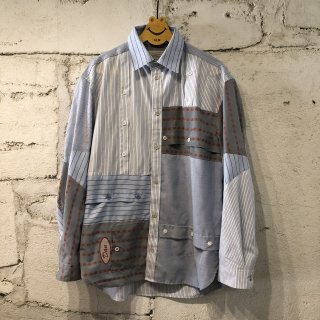 PATCH WORK SHIRT STRIPE / M