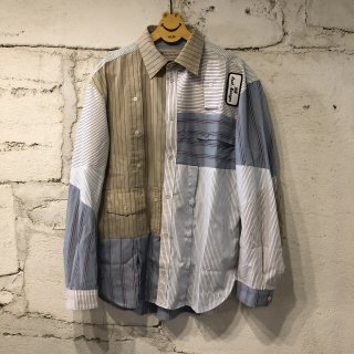 PATCH WORK SHIRT STRIPE  / L