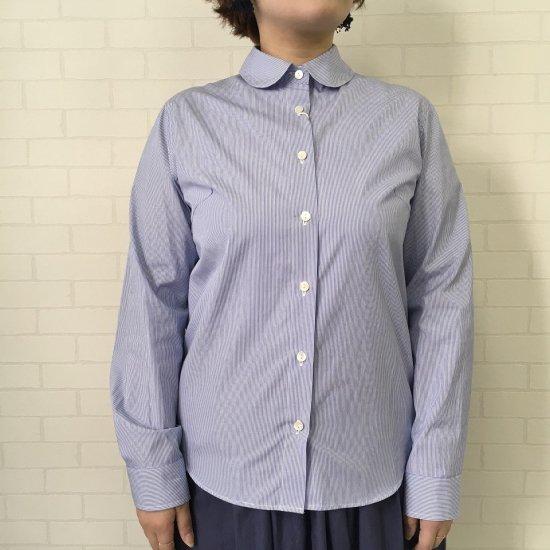 SARAHWEAR - コットン丸襟 ストライプシャツ