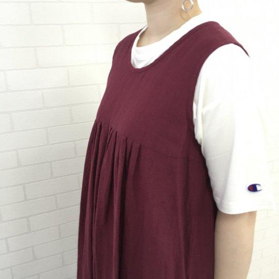 SARAHWEAR - リネンノースリーブ タックドレス